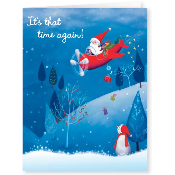 Santa's Flight Christmas Card - Set Of 20 - View 1