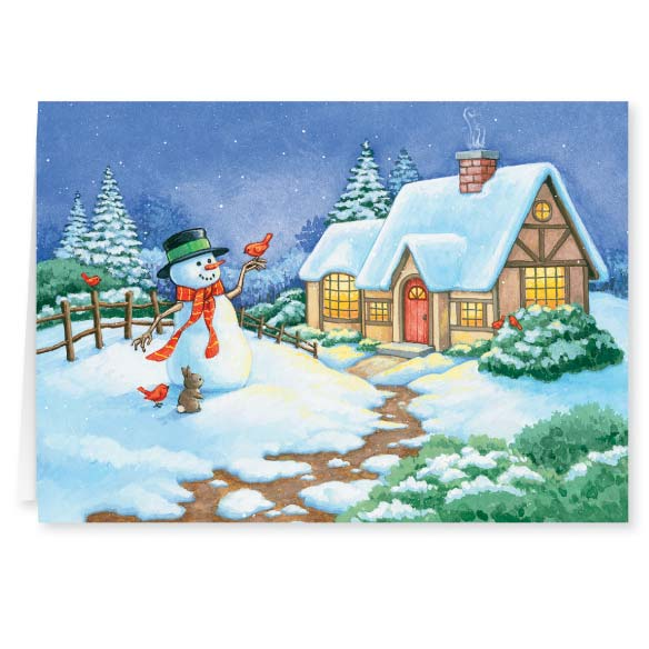 Snowman Cottage Christmas Card - Set Of 20 - View 1