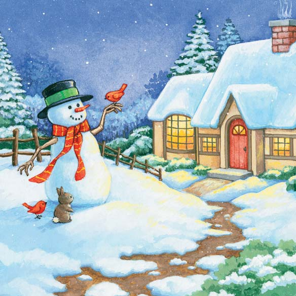 Snowman Cottage Christmas Card - Set Of 20 - View 3