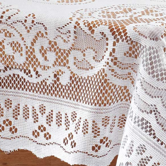 White Fleur De Lis Lace Tablecloth - View 1