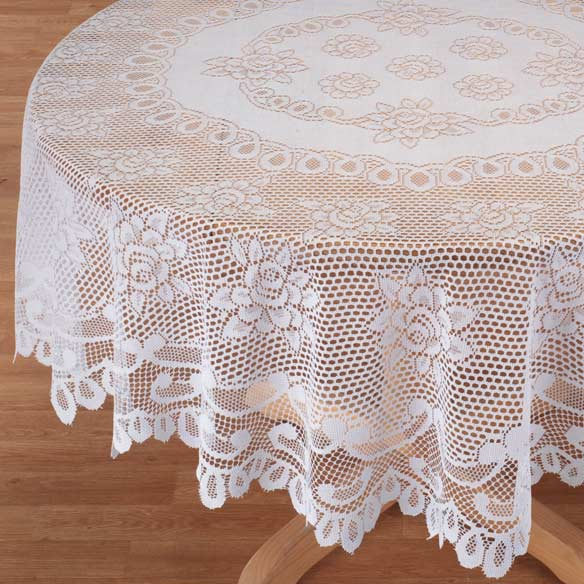 White Rose Lace Tablecloth - View 2