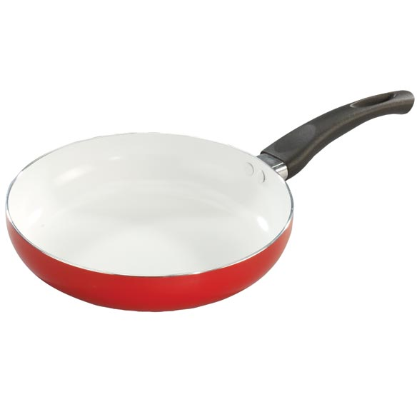 Red Ceramic Frying Pan - View 1