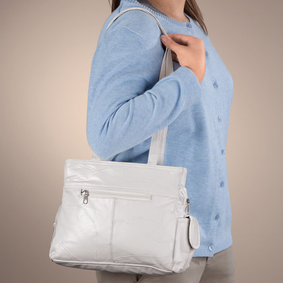 White Patch Leather Handbag - View 2