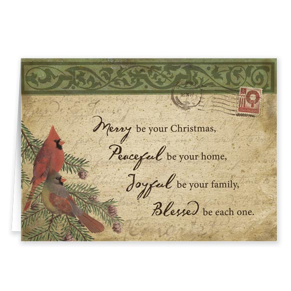 Cardinal Blessings Nonpersonalized Christmas Card Set of 20 - View 2