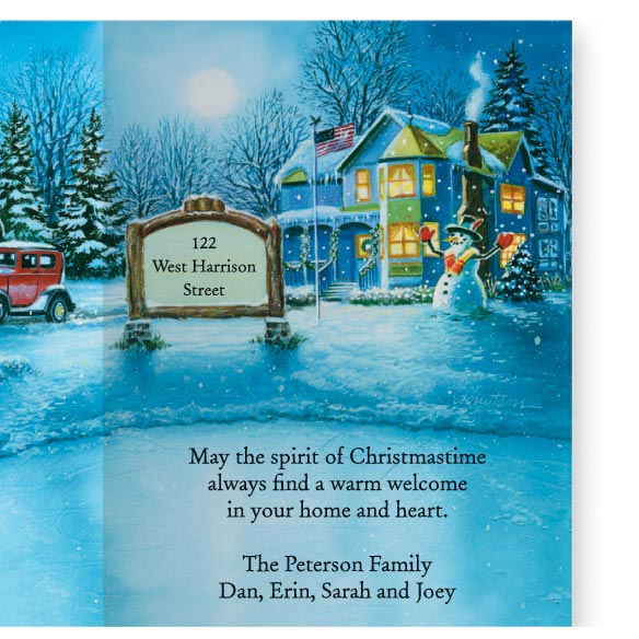 Nostalgic Village Christmas Card Set of 20 - View 3