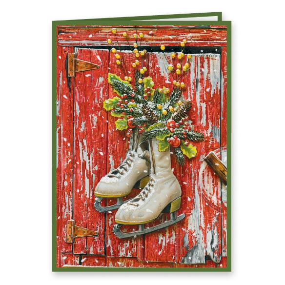 Vintage Skates Christmas Card Set of 20 - View 1