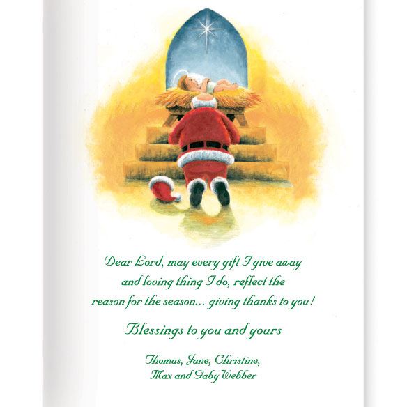 Santa's Prayer Christian Christmas Card Set of 20 - View 2