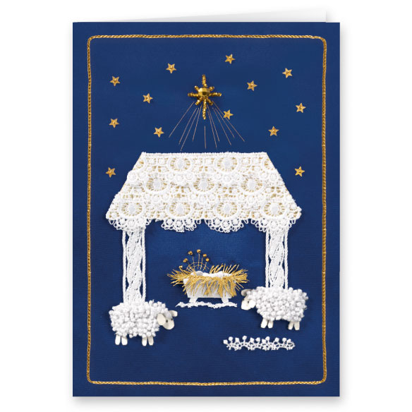 Satin Nativity Christian Christmas Card Set of 20 - View 2