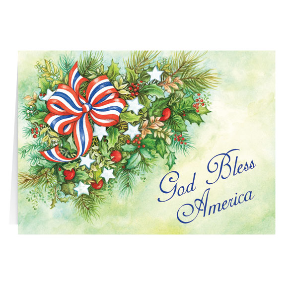 Patriotic Blessings Christmas Card Set of 20 - View 2