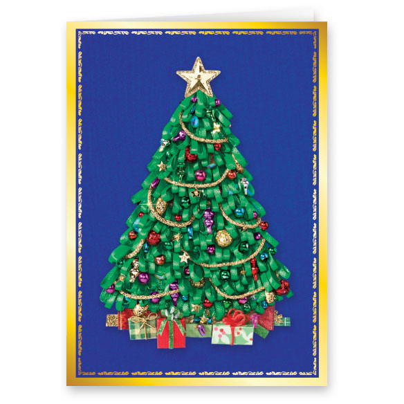 Satin Tree Christmas Card Set of 20 - View 1