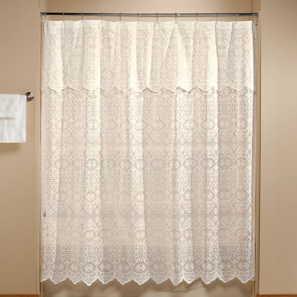 lace shower curtain with attached valance and bonus liner