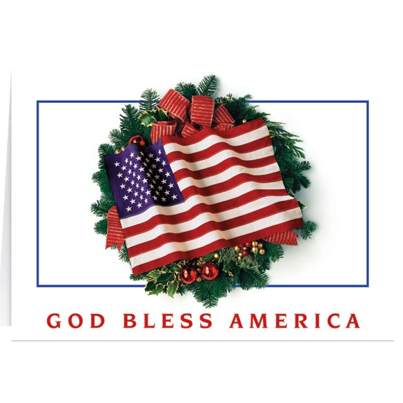 Flag Wreath Christmas Card Set of 20 Plain - View 1