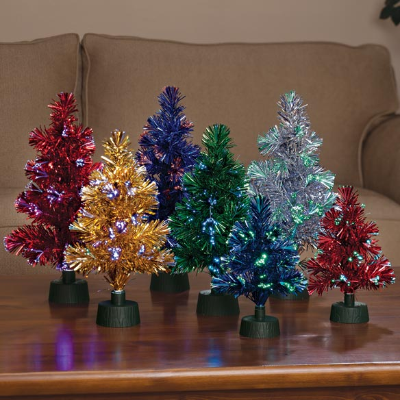 "14"" Fiber Optic Tinsel Tree - View 3"