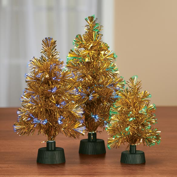 "14"" Fiber Optic Tinsel Tree - View 4"
