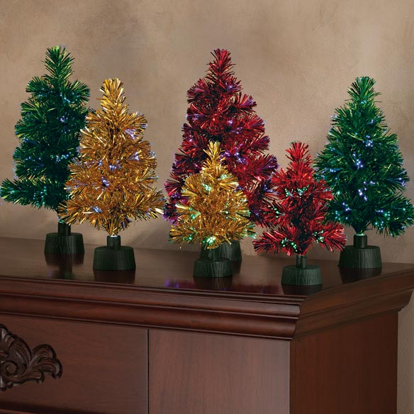 "14"" Fiber Optic Tinsel Tree - View 5"