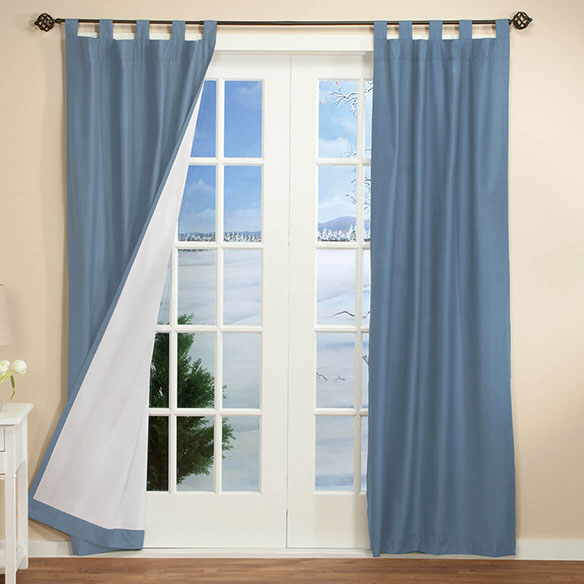 Energy Saving Tab Top Curtains Set Of 2 - View 4