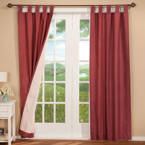 Energy Saving Tab Top Curtains Set Of 2 - View 5