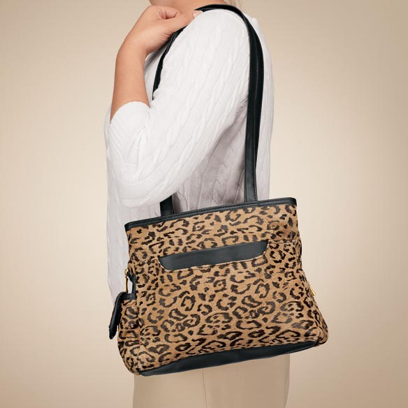 Leopard Patch Suede Leather Handbag - View 1