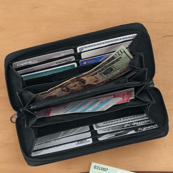 Black Faux Ostrich Clutch Wallet - View 1