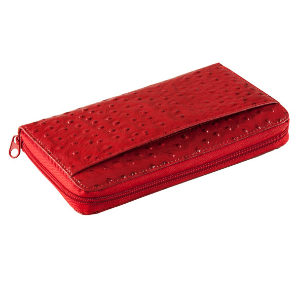 Red Faux Ostrich Clutch Wallet - View 1