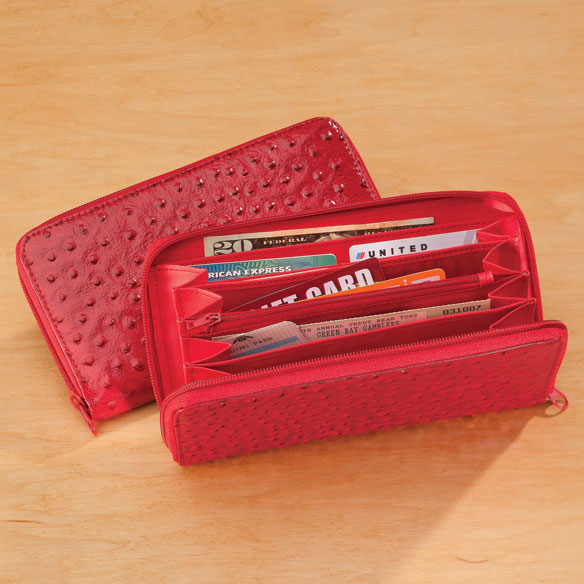 Red Faux Ostrich Clutch Wallet - View 2