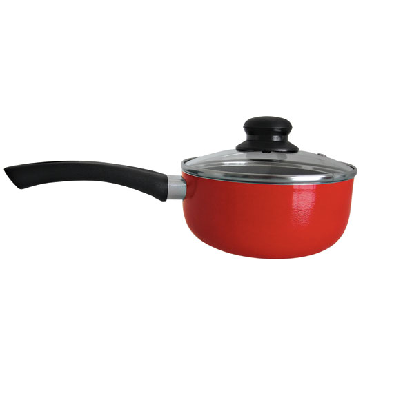 Red Ceramic Sauce Pan - 1.5 Qt. - View 1