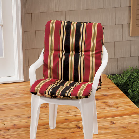 Reversible Outdoor Chair Cushion With Ties - View 1