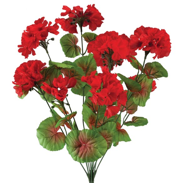 Artificial Red Geraniums - View 2
