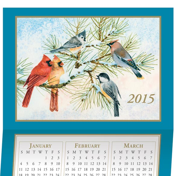 Songbird Calendar Christmas Card Set of 20 - View 1