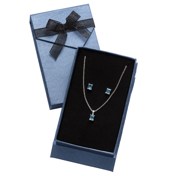 Blue Topaz Earring & Necklace Set - View 2