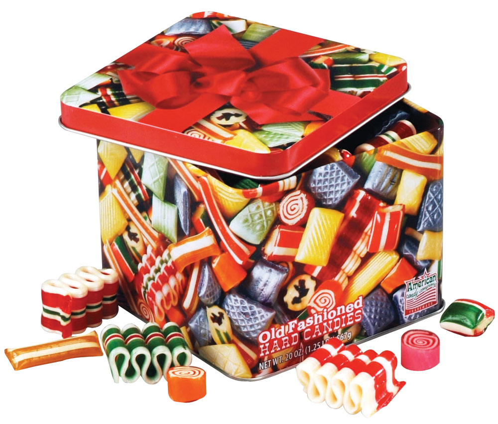 Hammond's Old Fashioned Christmas Candy Tin - 10 oz., Multicolor Filled with old fashioned candy favorites from your past, this nostalgic Hammond's old fashioned Christmas candy tin includes an assortment of delicious hard candies in fruit and spice flavors. Packed in a classic Christmas tin, Hammonds old time candy is perfect for giving or serving. 10 ounces. |||Ingredients Sugar, Corn Syrup, Citric Acid, Natural & Artificial Flavor, Artificial Colors, (Incl. Blue 1, Red 3 & 40, Yellow 5) Nutrition Facts: Serving Size: 18g, Servings: About 31.5, Amount per serving Calories 60, Total Fat 0g (0%DV), Fat Calories 0, Saturated Fat 0g, (0%DV), Trans Fat 0g (0%DV), Cholesterol 0mg (0%DV), Sodium 5 mg (0%DV), Total Carbohydrates 11g (4%DV), Fiber 0g (0%DV), Sugars 12g, Protein 0g. Not a significant source, of Vitamin A, Vitamin C,Calcium or Iron. Percent daily values (DV) based on a 2,000 calorie diet. Manufactured in a facility that processes milk, eggs, soy, peanuts and tree nuts. Gluten Free.