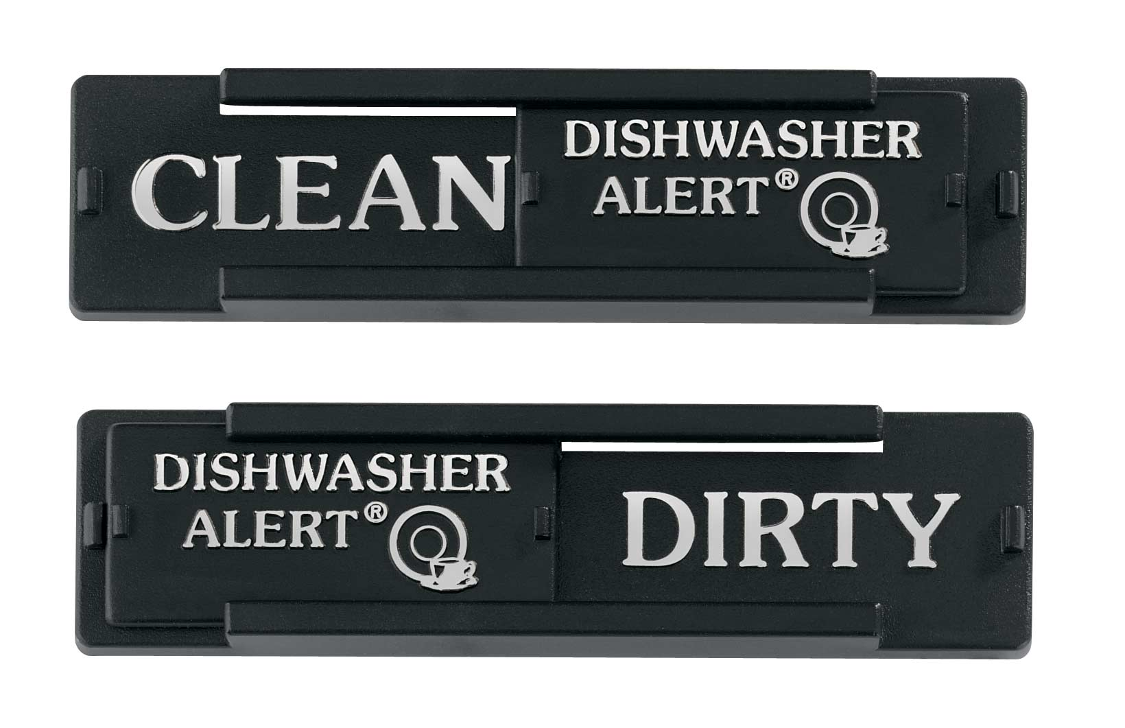 Dishwasher Reminder Are the dishes in your dishwasher dirty or clean? Sure, you could open it up, bend down, and look. But this dishwasher reminder sign is handier. Just stick this dishwasher reminder on your dishwasher, and slide it between Clean and Dirty as needed. Not electronic - you just slide it back and forth. Plastic, 4 long x 1 wide.
