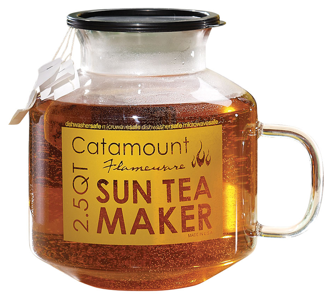 Catamount Glass Microwave Sun Tea Maker Enjoy  sun  tea in a snap all year long with this Catamount glass microwave sun tea maker. Just 8 minutes in the microwave and it's ready! Glass sun tea pitcher works great when set in direct sunlight too! Cool-touch, easy-grip handle. Dishwasher safe. 7 1/4  H x 6 1/2  dia.