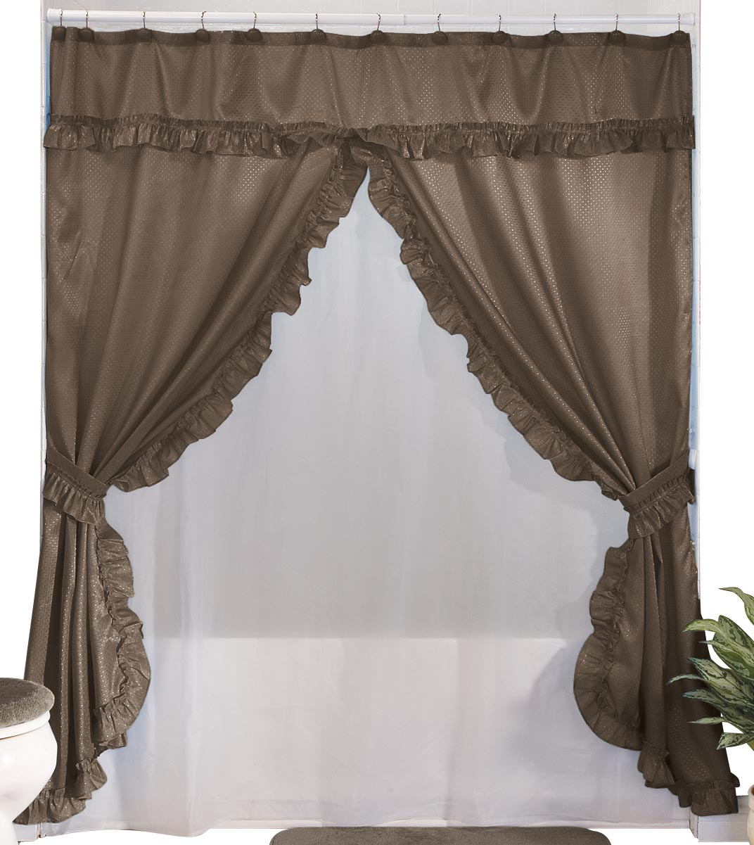 WalterDrake WalterDrake Double Swag Shower Curtains With Valance
