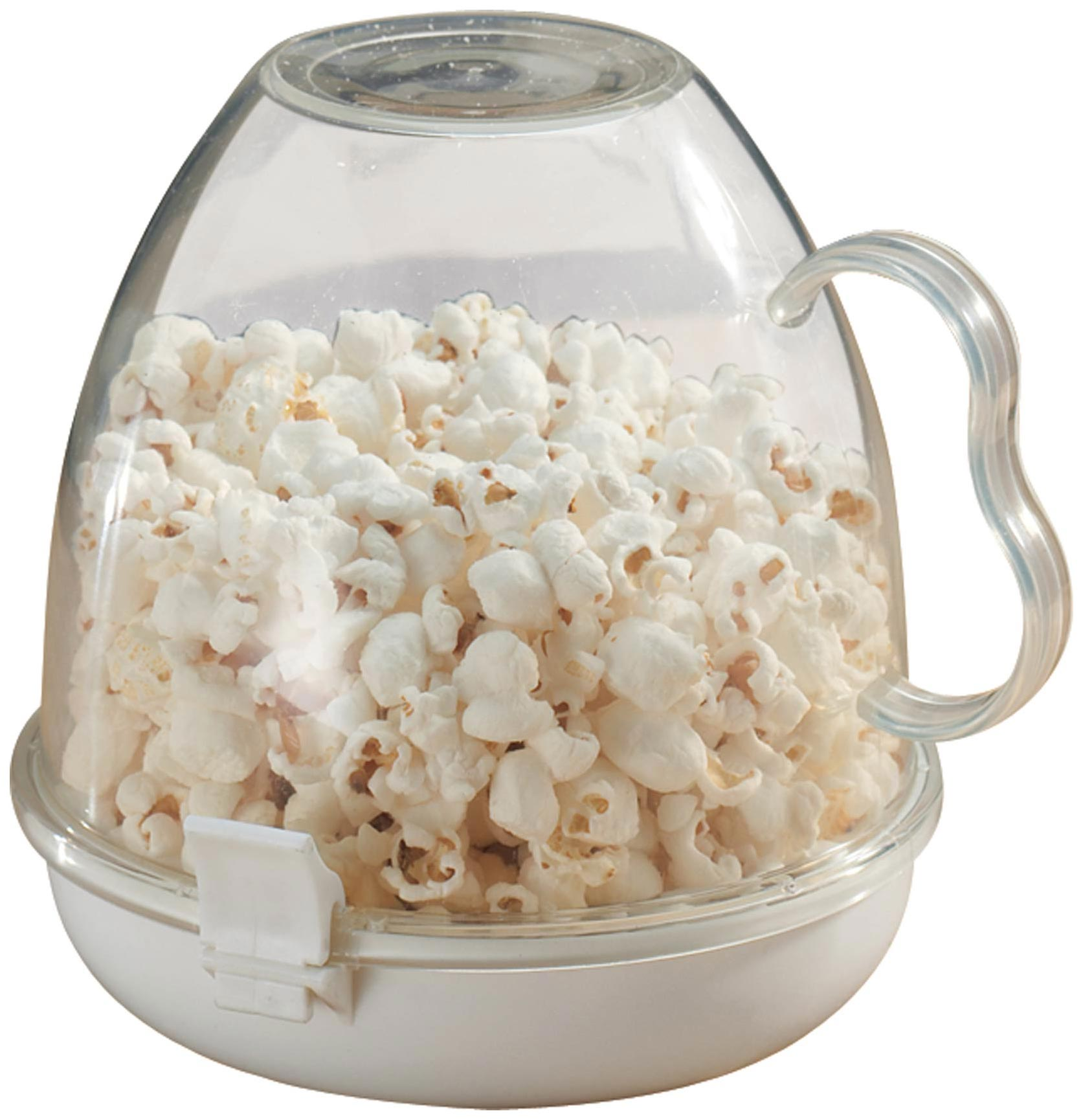 Microwave Popcorn Maker, Clear Microwave popcorn popper makes perfectly portioned popcorn with less mess. Simply add kernels with the desired oil, butter or flavoring to bottom tray of microwave popcorn maker. Snap on the clear bowl and microwave. Flip unit, remove lid and eat right from the handled bowl. Microwave popcorn bowl is dishwasher safe. 5 1/2 long x 7 wide x 6 1/2 high.