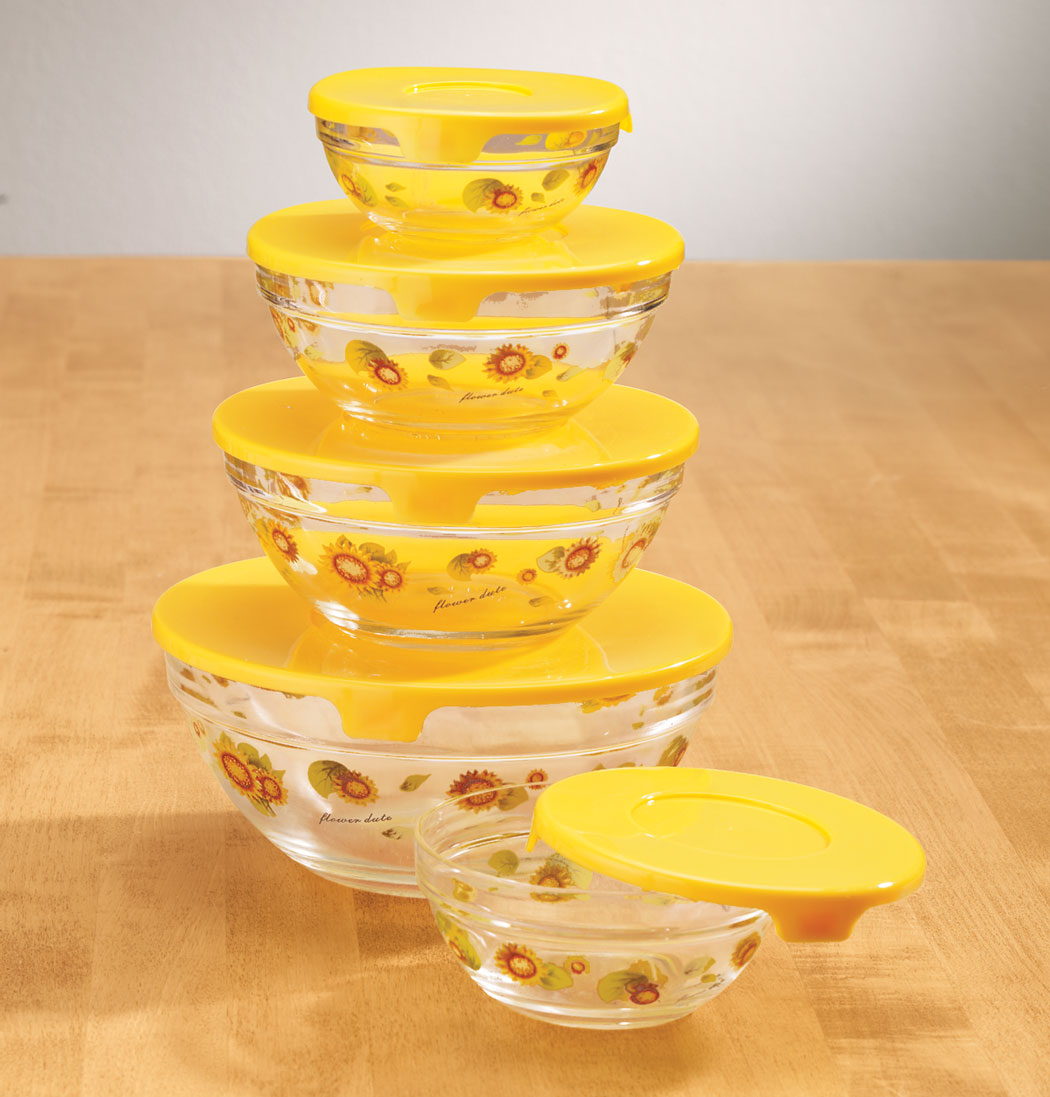 Купить со скидкой Glass Sunflower Serving Bowls - Set of 5