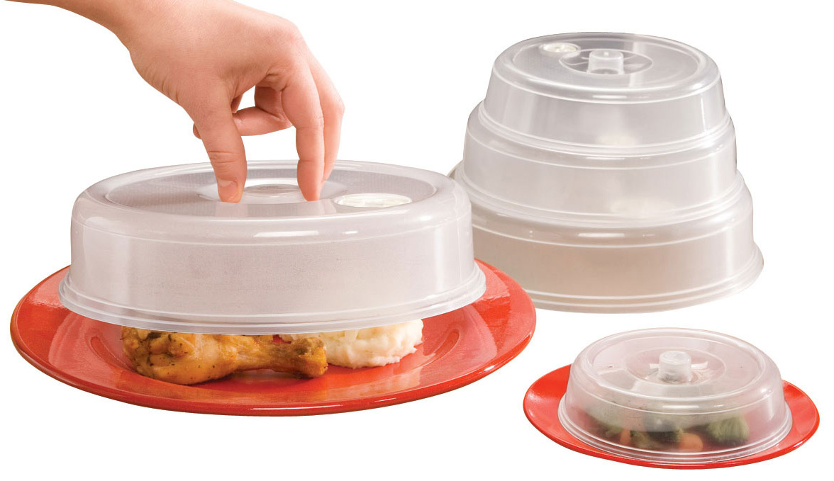 Vented Microwave Plate Covers - Set of 5, Clear Vented microwave plate covers protect your microwave from splatters. Set of 5 covers range in size from 4 1/2 dia. to 8 3/4 dia. Microwave plate covers are perfect for reheating a variety of dishes. Nest for easy storage. Microwave food cover is top rack dishwasher safe.