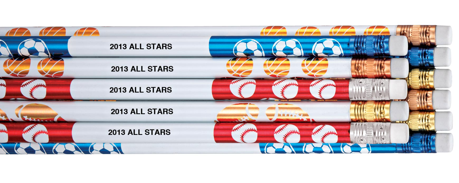 Personalized Sports Pencils - Set Of 12 Set of 12 personalizedonalized sports pencils. Great way to advertise your business. Kids love 'em for school; name imprinted helps prevent loss. Each sports pencil has #2 lead. Print up to 30 letters/spaces; one name or message per set. Custom pencils are ideal promotional giveaways!