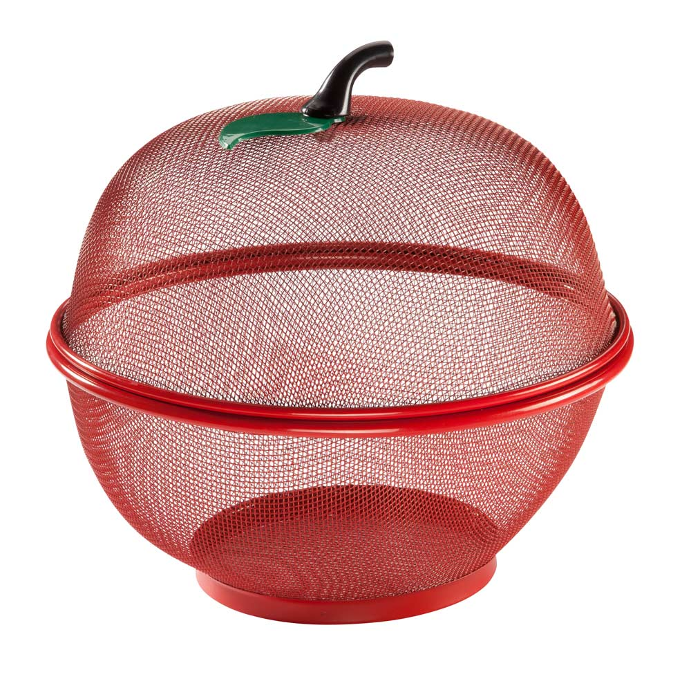 Apple Shape Mesh Basket Decorative apple shape mesh basket is a perfect way to store fresh fruit year-round. Two-piece, apple-shaped basket with stem handle covers fruit to protect it from bruising and insects. Your fresh produce stays within sight so you don't forget to eat it. Lightweight fruit basket looks great on any countertop or table. 10  dia. x 10  H. Wire mesh. Hand wash.