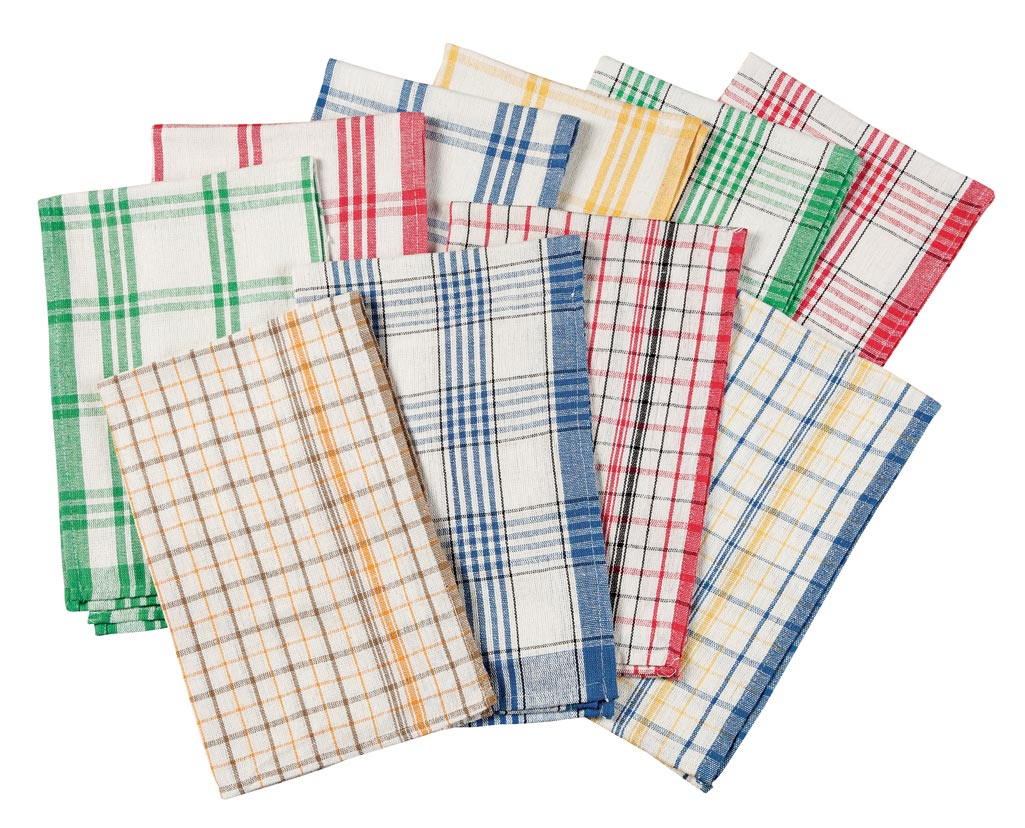 Plaid Kitchen Towels - Set of 10 Stock up on the essential plaid kitchen towel in bright, cheerful colors! Soft, generously-sized kitchen dish towels are made from rugged, flat-woven 100% cotton for lasting durability. Edges are hemmed and stitched to prevent fraying. Non-bulky and lint-free, these cotton kitchen towels are perfect for drying everything from delicate stemware and crystal to wiping hands and countertops. Amazing value! Each set of 10 kitchen towels includes red, green, yellow and blue in 3 classic plaid and striped patterns. Each towel measures 17 1/4  L x 27 1/4  W. Machine wash cold.