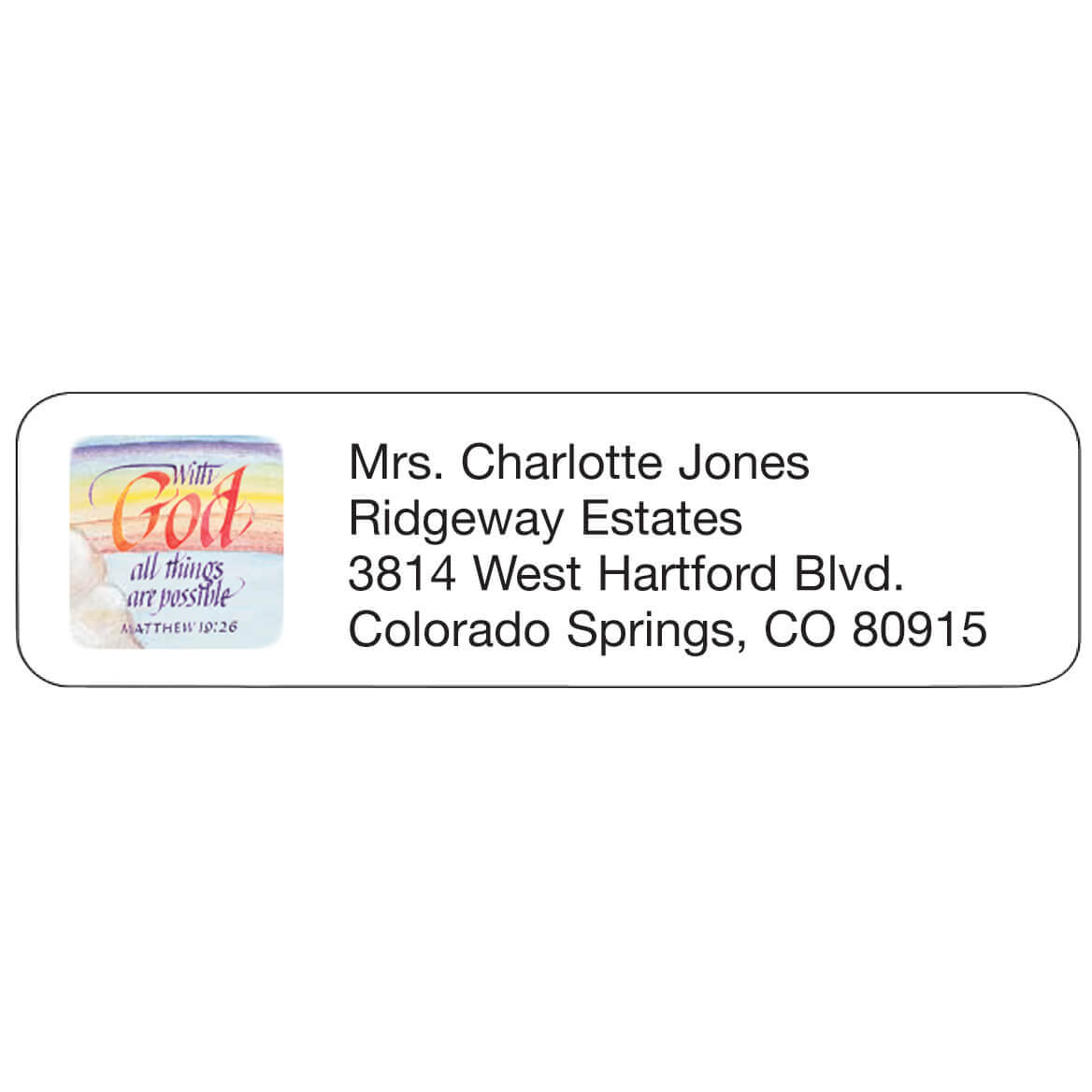 Religious Personalized Address Labels Delightfully designed self-stick white address labels are personalizedonalized in black. With these religious address labels, specify up to 4 lines, 26 letters and spaces per line. Set of 200 personalizedonalized address labels; 2  x 5/8  each.