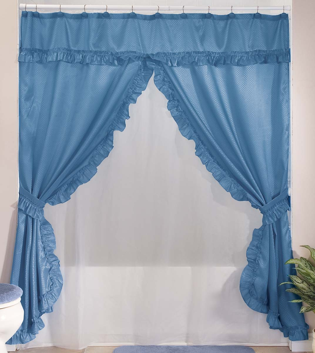 Купить со скидкой Double Swag Shower Curtains With Valance