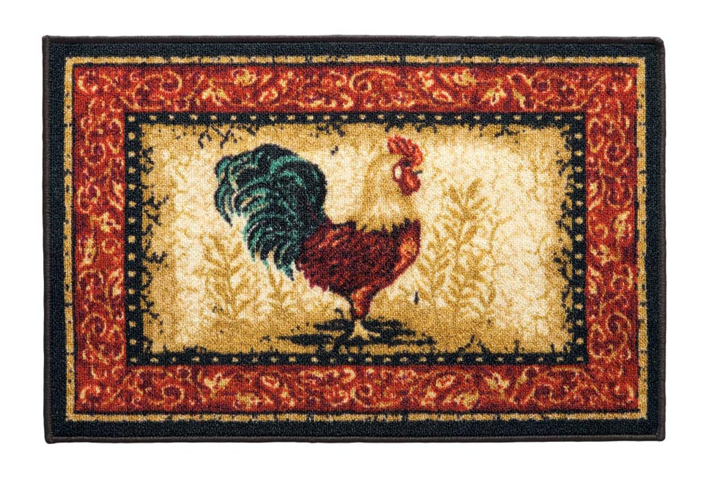 Kitchen Accent Rug Fresh designed kitchen accent rug. Durable, easy-clean accent rug for kitchen adds comfortable cushioning underfoot and safely stays in place with non-skid, latex backing. Styles include rooster, fruit and cafe au lait. Nylon. 20  L x 30  W. Machine wash.