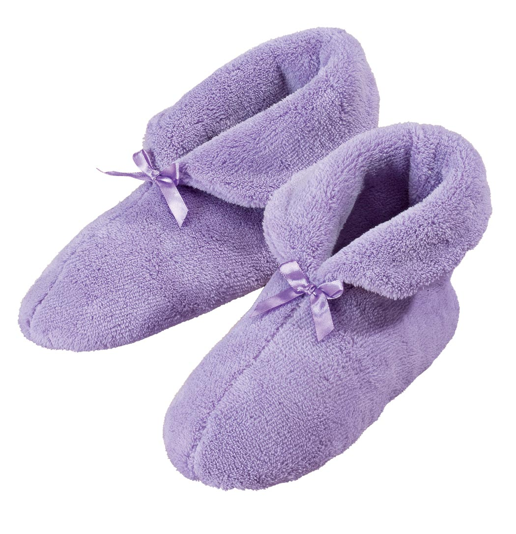 Chenille Slippers, Small Plush chenille slippersonalized keep feet warm and cozy. Feature non-skid soles, easy on/off design and seamless interior. Small fits women's shoe sizes 5–6; Medium fits 7–8; Large fits 9–10; XL fits 11–12. Machine-washable polar fleece upper/lining.