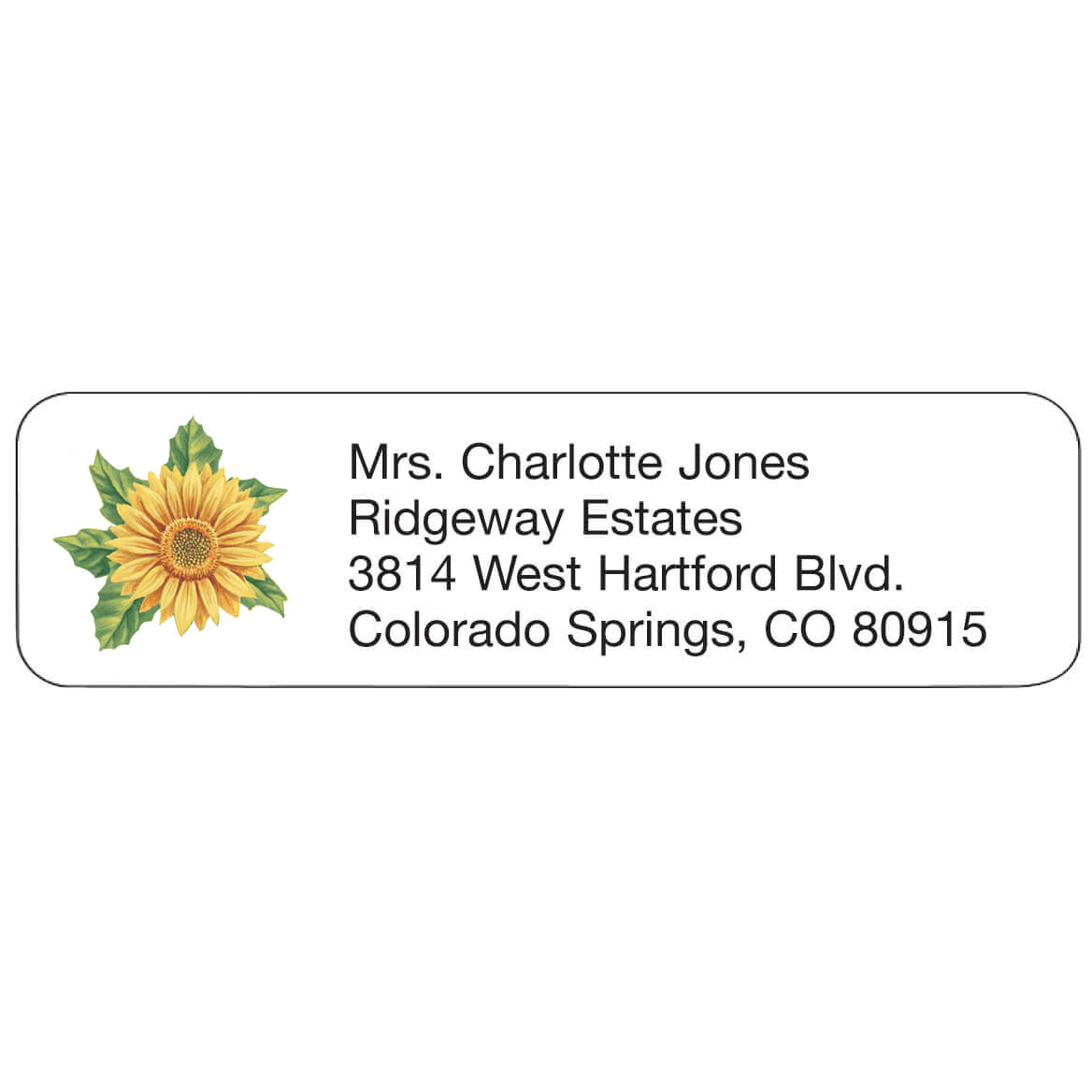 Sunflower Address Labels Sunflower address labels are delightfully designed. Address labels are self-stick and white. Labels are personalizedonalized in black. Specify up to 4 lines, 26 letters and spaces per line. Set of 200 rpersonalizedonalized return address labels; 2 1/4  x 5/8  each.
