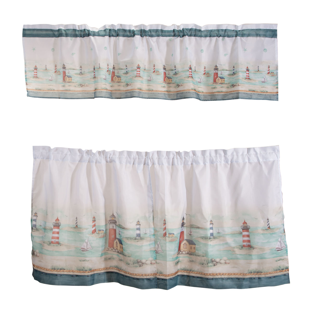Lighthouse Kitchen Curtain & Valance Set Give your kitchen a charming coastal feel. Lighthouse kitchen curtain and valance set features lighthouses surrounded by sand and sea. With a 1  dia. x 1 1/2  H opening, these window curtains are beautiful on standard or decorative rods. Window treatment fits windows up to 36  W. Choose from 2 sizes: 58  x 24  includes 58  W x 13  H valance and pair of 58  W x 24  H tiers; 58  x 36  includes 58  W x 13  H valance and pair of 58  W x 36  H tiers. Easy-care 100% polyester. Machine wash cold, delicate cycle; tumble dry low.
