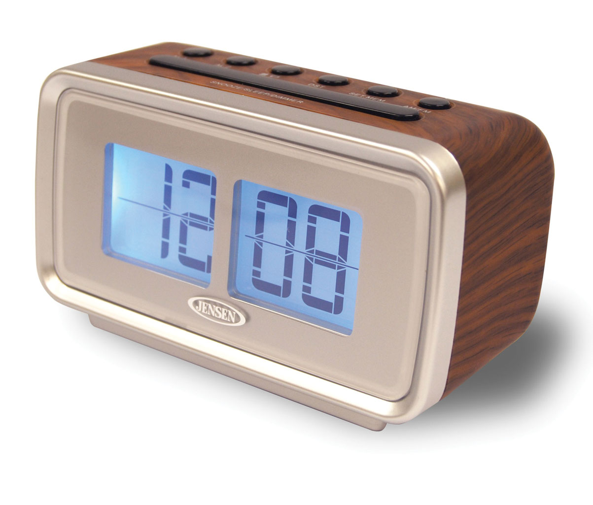 Jensen AM/FM Dual Alarm Clock with Digital Retro Flip Displ You'll flip for this unique clock radio's nostalgic style. Compact Jensen AM/FM dual alarm clock with digital retro flip display features a 1  digital LCD display that mimics the retro flip design from the '60s and '70s. Features include back-lit display with dimmer control, digital AM/FM tuner, calendar, sleep and snooze settings, and dual alarms that allow you to wake to radio or alarm. 120V AC power with battery backup option (batteries not included). Retro alarm clock measures 3  H x 5 1/2  W x 2 1/2  D with 60  L cord.