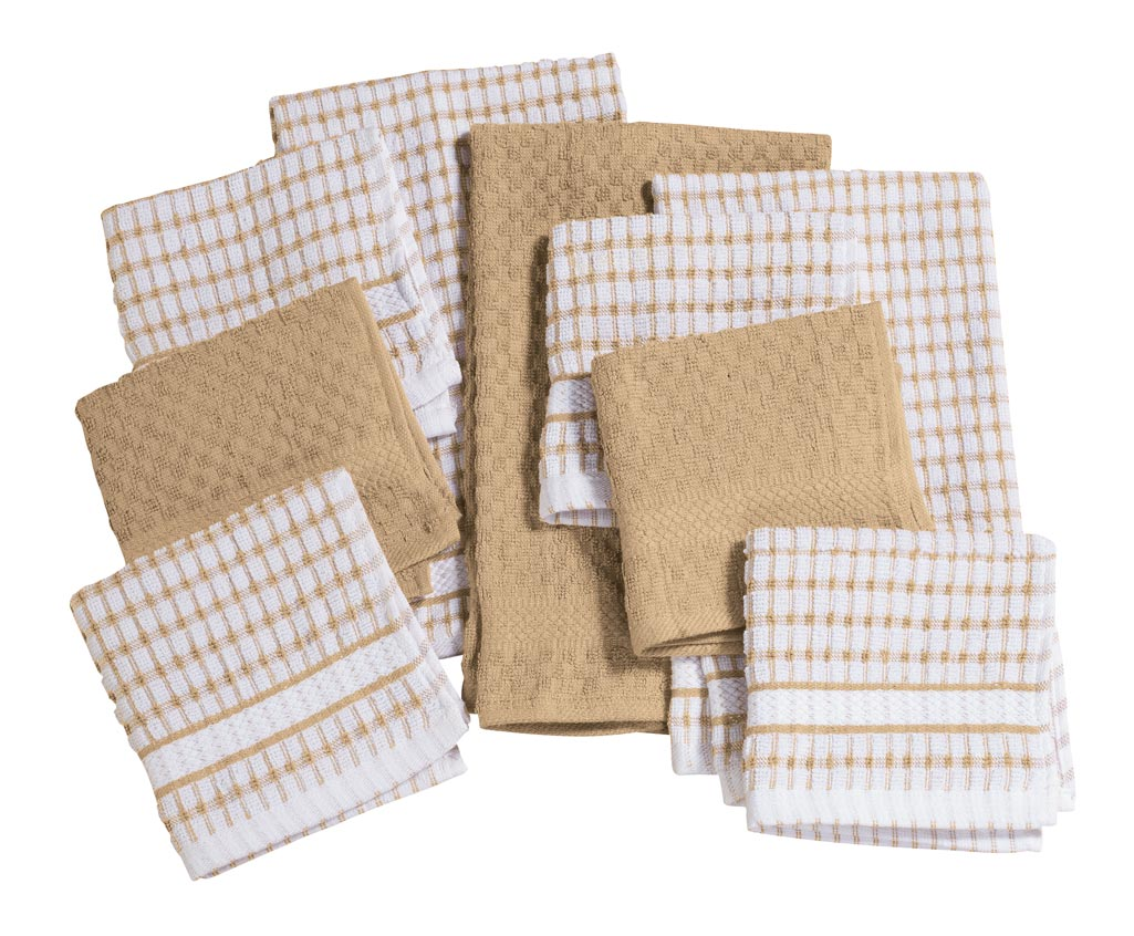 Terry Kitchen Towels - Set of 3 In thick 100% cotton terry cloth, these super absorbent terry kitchen towels will spoil you from the start ... and this price makes it easy to stock your entire linen drawer. The all-purpose cotton towels clean countertops, soak up spills like a sponge, wipe dishes dry in a flash and keep getting better, wash after wash. Charming your kitchen in classic colors, each set of 3 kitchen towels includes 1 solid and 2 matching plaid towels. Machine wash cold, tumble dry low. 26 long x 16 wide. Imported.