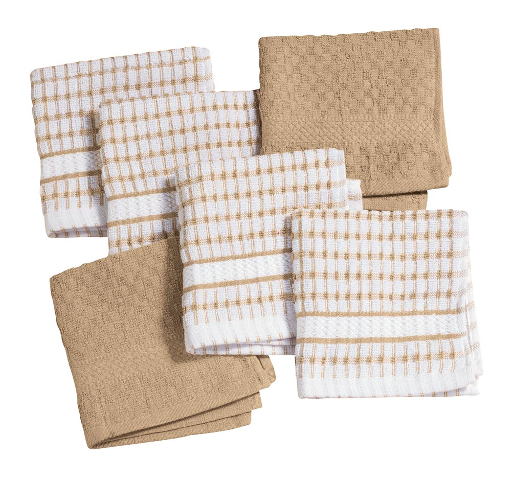 Terry Kitchen Dish Cloths, Set of 6 Stock up on easy-care terry dish cloths in a value-priced set of 6. Superabsorbent, 100% cotton dish cloths are perfect for washing dishes, wiping up spills and other cleaning tasks. Set includes 4 patterned and 2 solid kitchen towels in vibrant colors to complement any decor. Choose from red, blue or tan. Each cotton towel measures 12  L x 12  W. Machine wash cold; tumble dry low. Pairs perfectly with our Terry Kitchen Towels (sold separately).