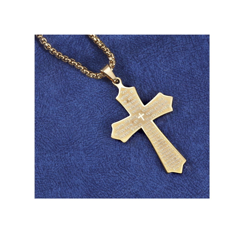 Купить со скидкой Personalized Lord's Prayer Cross Necklace Gold